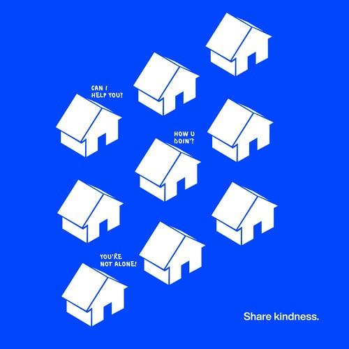 Ilustração de residências brancas com fundo azul.